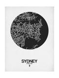 Sydney Street Map Black on White Premium Giclée-tryk af  NaxArt