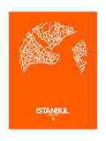 Istanbul Street Map Orange Prints by  NaxArt