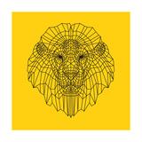 Lion Head Yellow Mesh Print by Lisa Kroll
