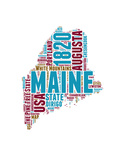 Maine Word Cloud Map Prints by  NaxArt