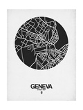 Geneva Street Map Black on White Art by  NaxArt