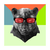 Party Panther in Red Glasses Premium Giclee Print by Lisa Kroll