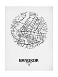 Bangkok Street Map White Prints by  NaxArt
