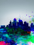 Kansas City Watercolor Skyline Plastic Sign by  NaxArt