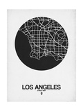 Los Angeles Street Map Black on White Poster by  NaxArt