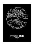 Stockholm Street Map Black Poster af NaxArt