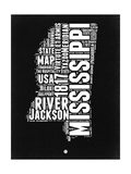 Mississippi Black and White Map Posters by  NaxArt