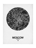 Moscow Street Map Black on White Poster by  NaxArt