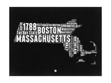 Massachusetts Black and White Map Posters by  NaxArt
