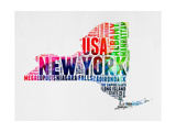 New York Watercolor Word Cloud Poster by  NaxArt