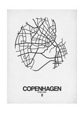 Copenhagen Street Map White Poster af NaxArt