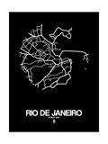 Rio de Janeiro Street Map Black Posters by  NaxArt