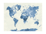 World Map in Watercolor Blue Prints by  paulrommer