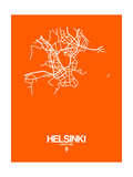Helsinki Street Map Orange Posters by  NaxArt