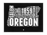 Oregon Black and White Map Prints by  NaxArt