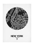 New York Street Map Black and White Schilderij van  NaxArt