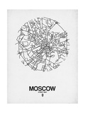 Moscow Street Map White Prints by  NaxArt