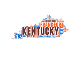 Kentucky Word Cloud Map Prints by  NaxArt