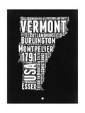 Vermont Black and White Map Prints by  NaxArt