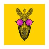 Zebra in Pink Glasses Giclee-tryk i høj kvalitet af Lisa Kroll