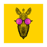 Zebra in Pink Glasses Prints by Lisa Kroll