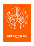 Washington, D.C. Street Map Orange Prints by  NaxArt
