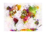 World Map in Watercolor Premium Giclee-trykk av  paulrommer