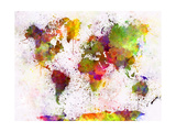 paulrommer - World Map in Watercolor - Birinci Sınıf Giclee Baskı
