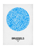 Brussels Street Map Blue Posters by  NaxArt