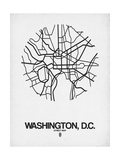 Washington, D.C. Street Map White Prints by  NaxArt