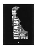 Delaware Black and White Map Print by  NaxArt