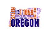 Oregon Word Cloud Map Prints by  NaxArt