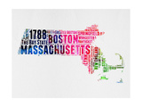 Massachusetts Watercolor Word Cloud Prints by  NaxArt