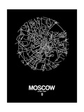 Moscow Street Map Black Posters by  NaxArt