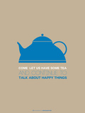 Tea Poster Blue Plastic Sign by  NaxArt