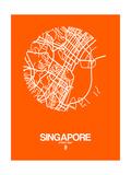 Singapore Street Map Orange Prints by  NaxArt
