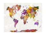 paulrommer - World Map in Watercolor Plakát