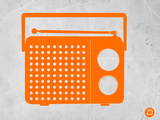 Orange Transistor Radio Plastic Sign by  NaxArt