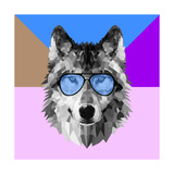 Woolf in Blue Glasses Print by Lisa Kroll