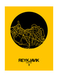 Reykjavik Street Map Yellow Prints by  NaxArt