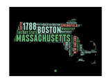 Massachusetts Word Cloud 1 Prints by  NaxArt