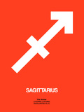 Sagittarius Zodiac Sign White on Orange Plastic Sign by  NaxArt