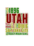 Utah Word Cloud Map Prints by  NaxArt