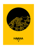 Havana Street Map Yellow Prints by  NaxArt