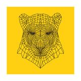 Panther Head Yellow Mesh Plakat af Lisa Kroll