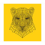 Panther Head Yellow Mesh Premium Giclee Print by Lisa Kroll