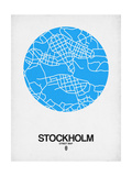 Stockholm Street Map Blue Art by  NaxArt