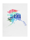 Alaska Watercolor Word Cloud Art by  NaxArt