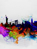 New York Watercolor Skyline 1 Plastic Sign by  NaxArt