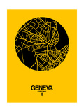 Geneva Street Map Yellow Prints by  NaxArt